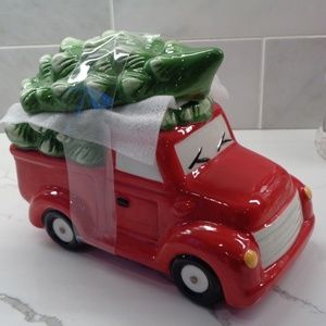 RED PICK UP TRUCK CHRISTMAS TREE TREAT COOKIE JAR